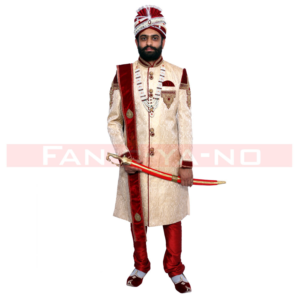 Sherwani in Red and Light Beige