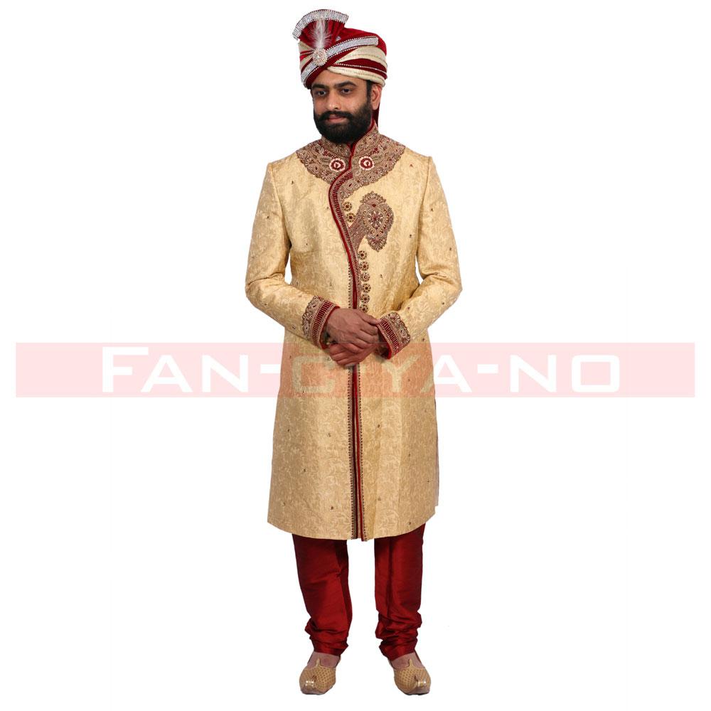 Sherwani with Golden Zari work and Maroon Breeches