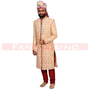 Formal Golden Sherwani with Red Breeches