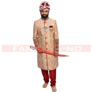 Beige-Red Sherwani
