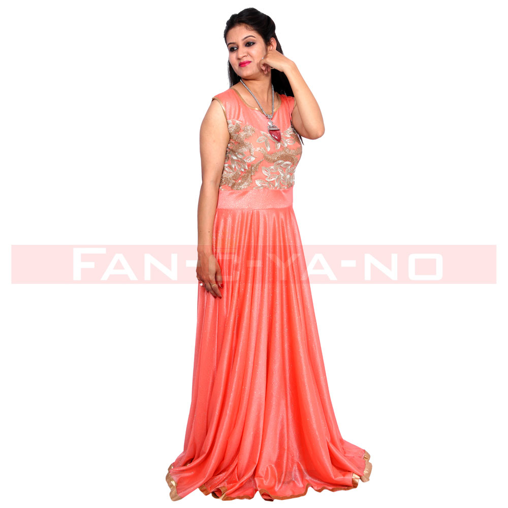 Peach Gown with Light Golden Work