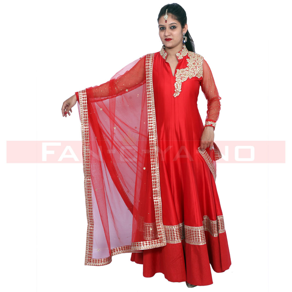 Red Gown with Net Dupatta