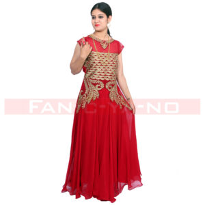 Red Gown With Golden Work and Full Frills