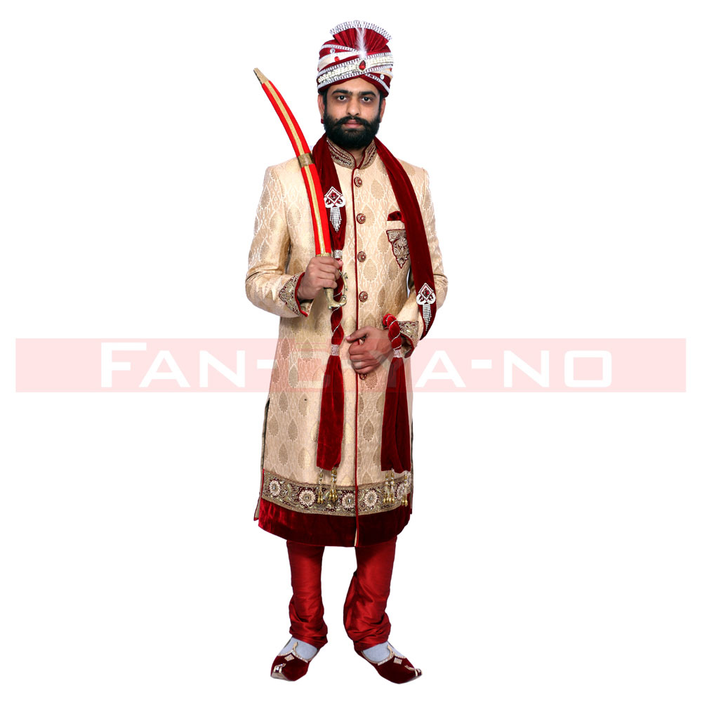Gold Sherwani with Maroon Breaches and Dupatta