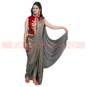 Saree Gown in Silver Grey
