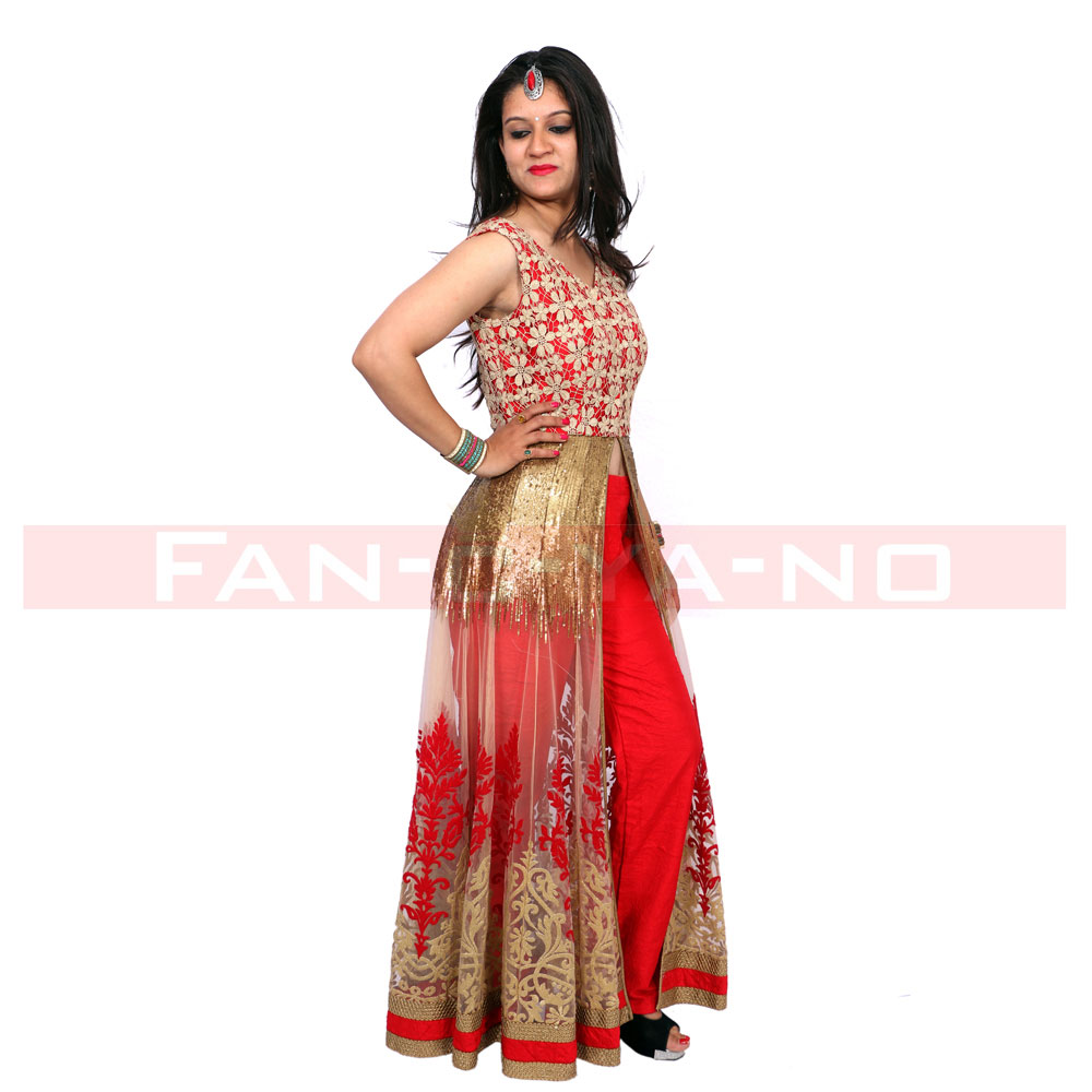 Red Western Gown with Front Open