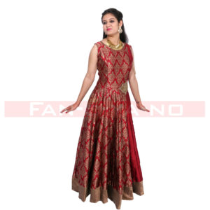 Red Western Gown with Golden Work