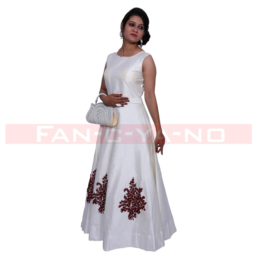 Pure White Western Gown with Light Embroidery