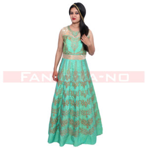 Green Western Gown in Silk and Net