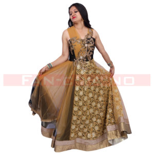 Golden Brown Evening Gown in Net and Silk
