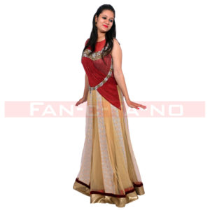 Semi Saree Gown (Maroon and Golden)