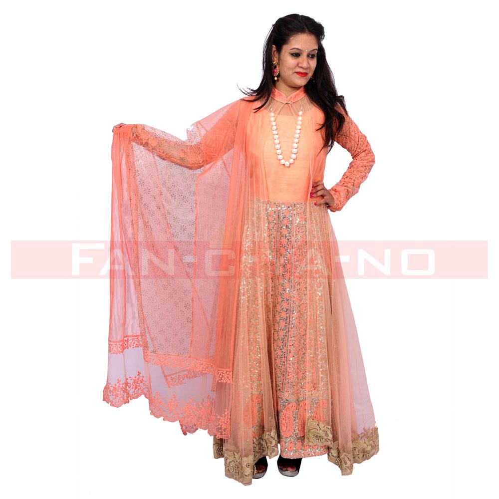 Orange Net Wrap Gown with Dupatta