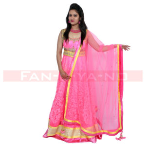Bright Pink Gown with Dupatta (Yellow-Golden Work)