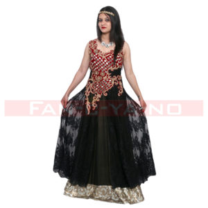 Evening Gown in Black-Golden (Party Dress)
