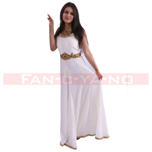 White Evening Gown with Golden Belt