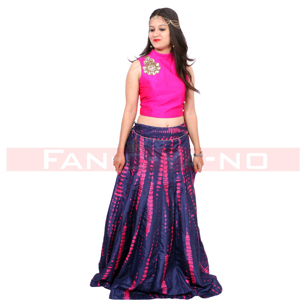 Indo-Western Gown in Lehenga Choli Style (Pink-Blue)