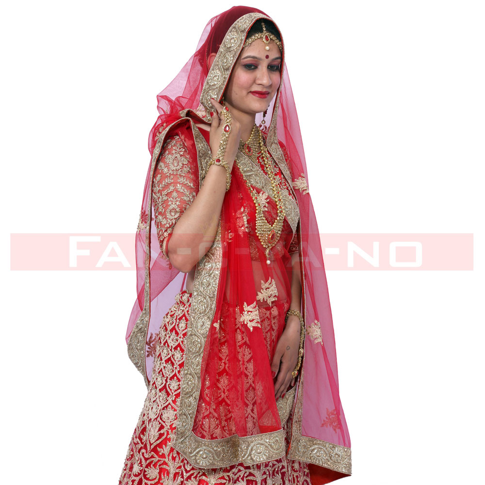 Red Bridal Lehenga with Long Sleeves and Golden Floral Work