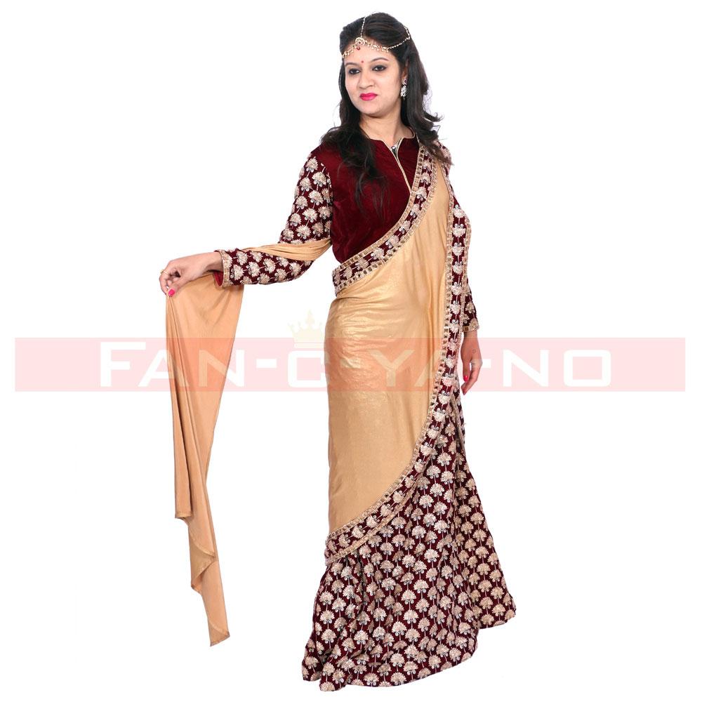 Beige Maroon Saree Gown