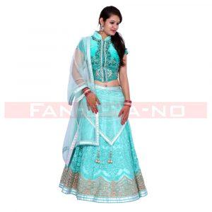 Turquoise Lehenga Choli with Net Dupatta