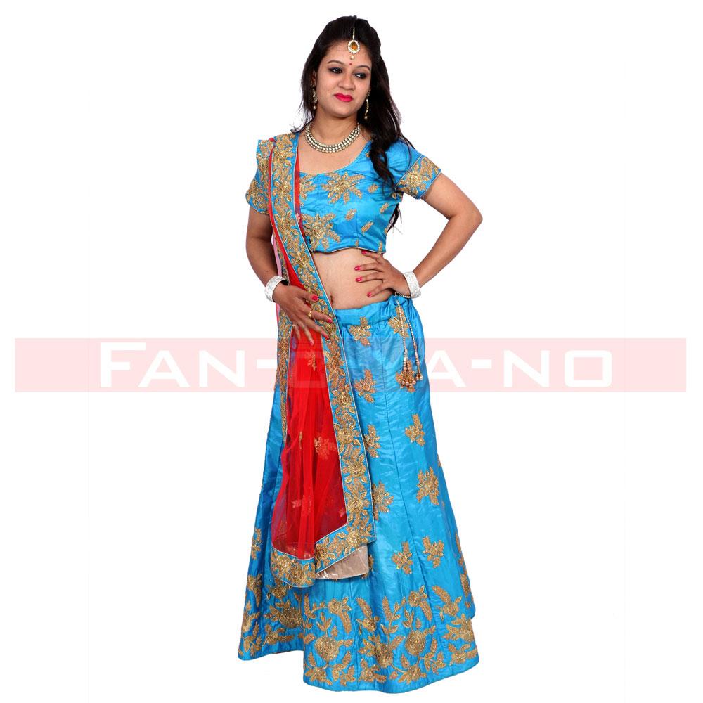Blue Designer Lehenga Choli with Red Dupatta