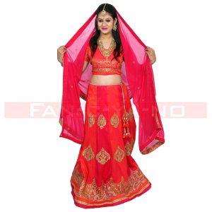 Red Designer Lehenga Choli with Matching Dupatta