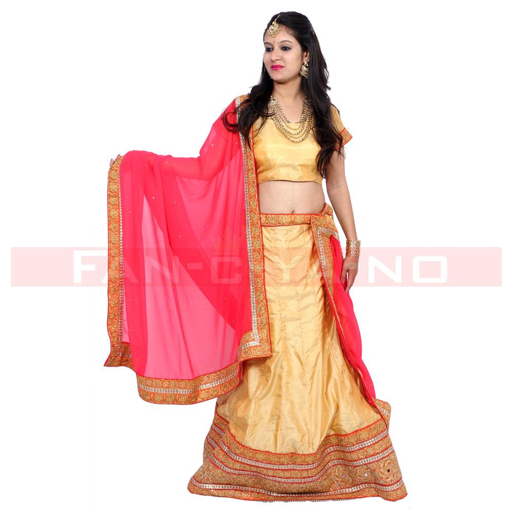 Golden Designer Lehenga Choli with Red Dupatta