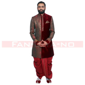 Maroon Indo Western with Golden Work and Red Dhoti