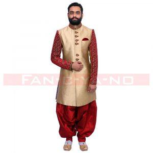Golden Maroon Designer Indo Western