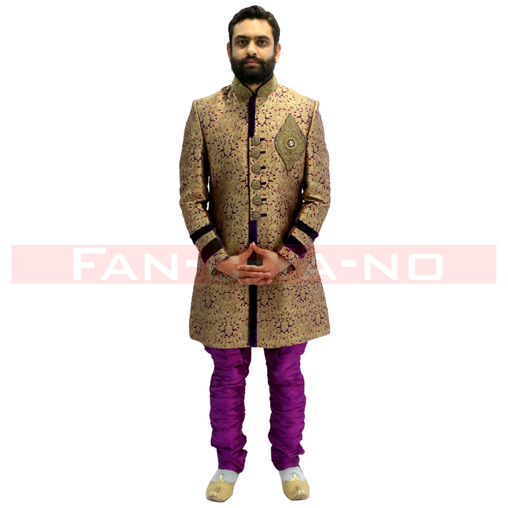 Gold and Violet Indo Western