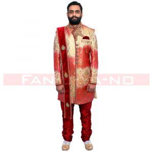 Golden Red Designer Indo Western
