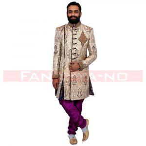 Beige Blue Designer Indo Western with Violet Breeches