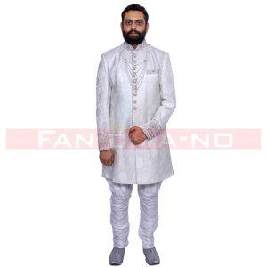 Pure White Indo Western with Silver Zari Work