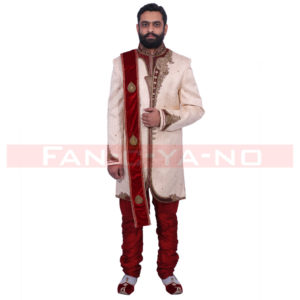 Beige Indo Western with Maroon Zari Work and Red Breeches