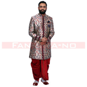 Printer Red Blue Copper Indo Western with Red Dhoti