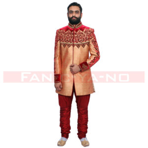 Copper Red Indo Western with Red Breeches
