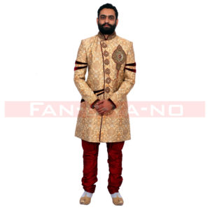 Designer Indo Western in Gold and Red