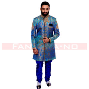 Designer Blue Indo Western with Golden Embroidery