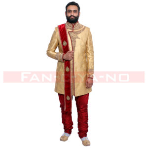 Golden Indo Western with Red Breeches