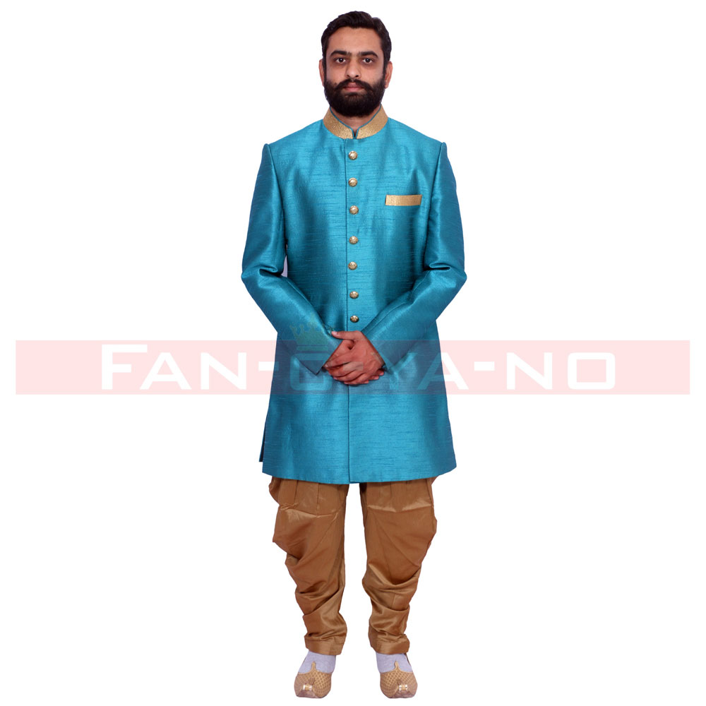 Blue and Beige Indo Western