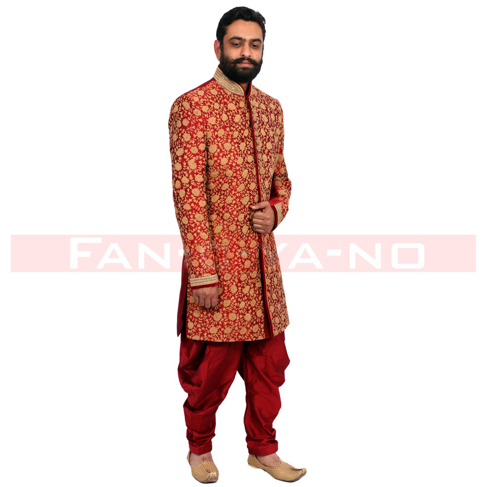 Red and Beige Printed Indo Western