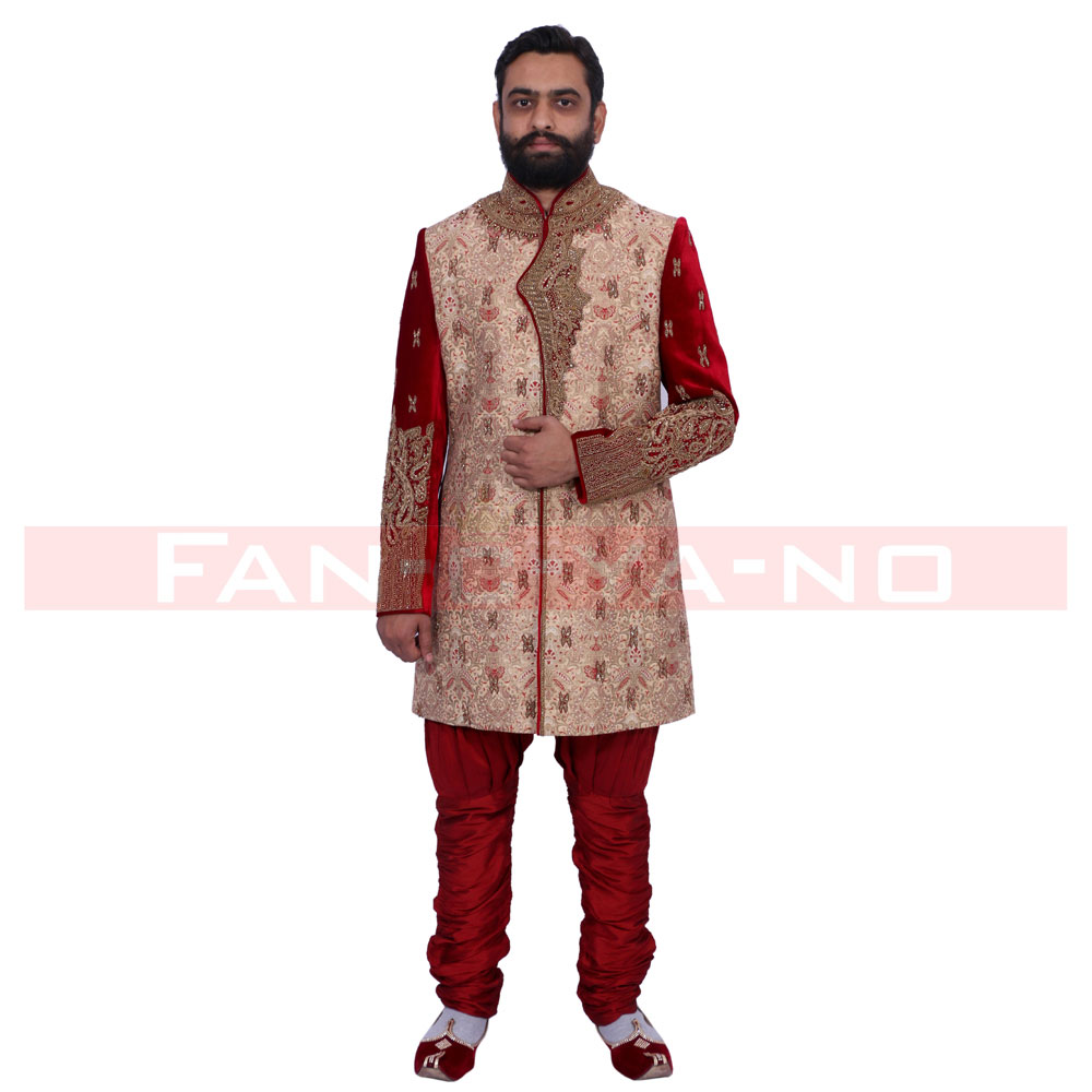 Red and Beige Indo Western with Heavy Embroidery