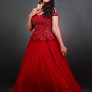 Red Ball gown for prewedding shoot